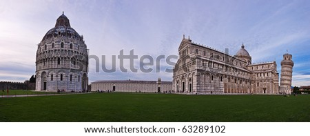 Panoramic view of Piazza del Duomo (also known as Square of Miracles), Pisa, Tuscany, Italy