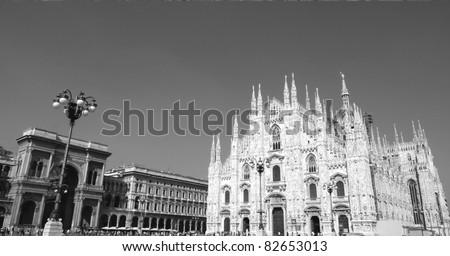 Panoramic view of Piazza del Duomo, Milan, Italy - stock photo