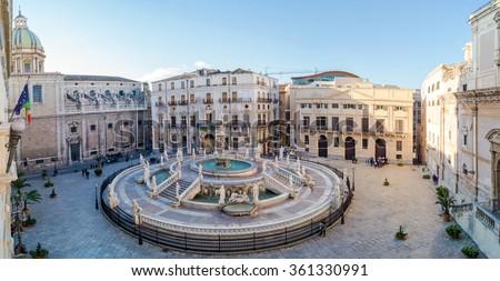 Panoramic view of Piazza Pretoria or Piazza della Vergogna, Palermo, Sicily, Italy - stock photo