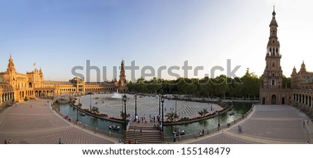 Panoramic view of Plaza de Espana in Sevilla, Andalusia, Spain