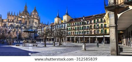 panoramic view of Plaza Mayor in Segovia, Spain - stock photo