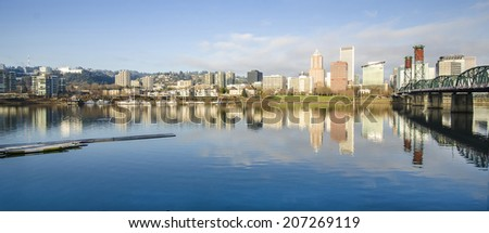 Panoramic view of Portland at Early Morning