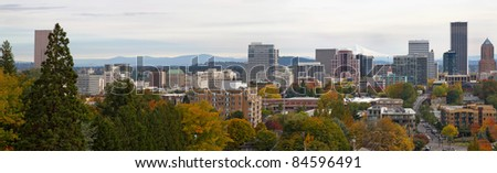 Panoramic View of Portland Oregon Downtown Skyline in Fall Season