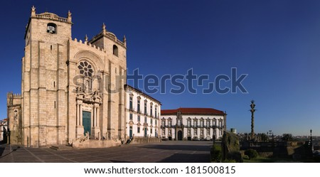 Panoramic view of Porto Cathedral (Portugal) - stock photo