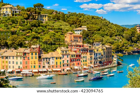 Panoramic view of Portofino, is an Italian fishing village, Genoa province, Italy. A vacation resort with a picturesque harbour and with celebrity and artistic visitors.