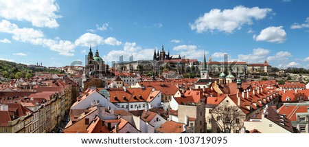Panoramic view of Prague Castle and Lesser Town from Lesser Town Bridge Tower (Charles Bridge) - stock photo