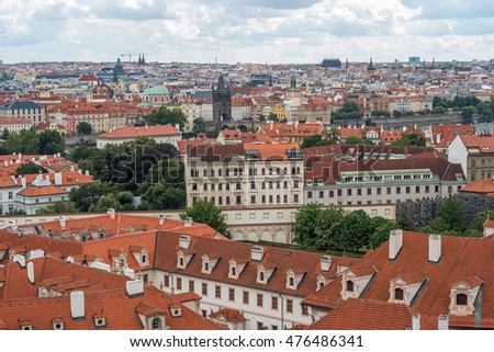 Panoramic view of Prague from castle point on cloudy day in summer