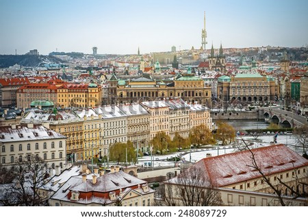 Panoramic view of Prague Old town and Lesser town from Prague castle (Hradcany) on a winter day, Czech Republic - stock photo
