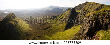 Panoramic view of Quiraing mountain range, Isle of Skye, Scotland - stock photo