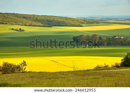 Panoramic view of rapeseed field and green meadows in France - stock photo