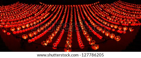 Panoramic view of red lanterns - stock photo