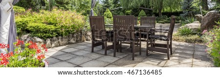 Panoramic view of residential area with classic garden furniture