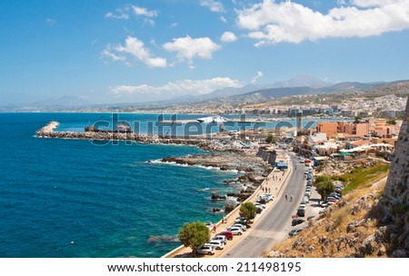 Panoramic view of Rethymno city on the Crete island, Greece. - stock photo