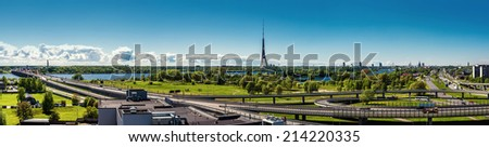 Panoramic view of Riga city. Latvia - stock photo