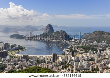 Panoramic view of Rio de Janeiro from above, Brazil - stock photo