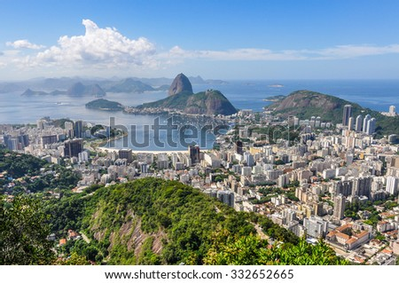 Panoramic view of Rio de Janeiro from above, Brazil - stock photo