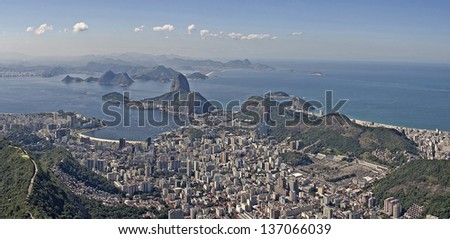 Panoramic view of Rio de Janeiro from Christ the Redeemer - stock photo