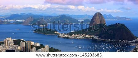 Panoramic view of Rio De Janeiro landscape - stock photo