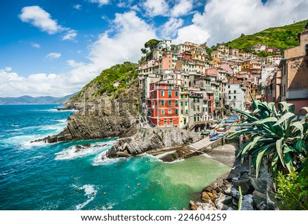 Panoramic view of Riomaggiore, one of the five famous fisherman villages of Cinque Terre in Liguria, Italy