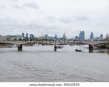 Panoramic view of River Thames London UK