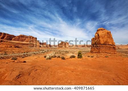 panoramic view of rock formations in the Utah desert - stock photo