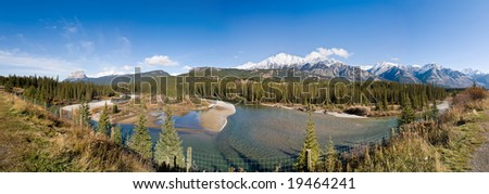 Panoramic View of Rocky Mountains and River