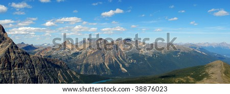 Panoramic view of rocky mountains from the hiking trail beside mountain edith cavell, jasper national park, alberta, canada - stock photo