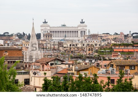 Panoramic view of Rome from Borghese gardens, Italy - stock photo