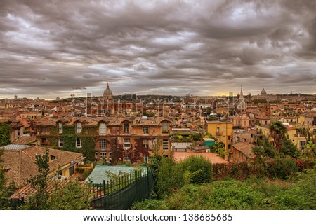 Panoramic view of Rome from Pincio Promenade, St Peter Square on background. - stock photo