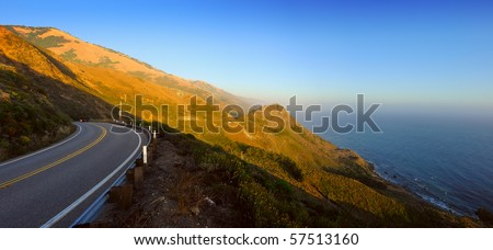 panoramic view of route 1 on the pacific coast California - stock photo