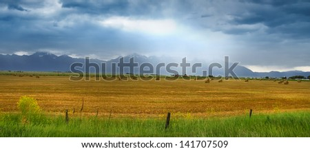 Panoramic view of rural Montana on a stormy day