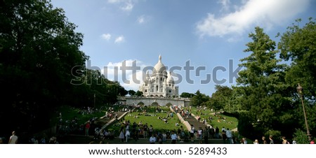 panoramic view of Sacre Coeur in Paris, horizontal view, sunny day - stock photo