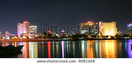 Panoramic view of Saigon (Vietnam) river from other side