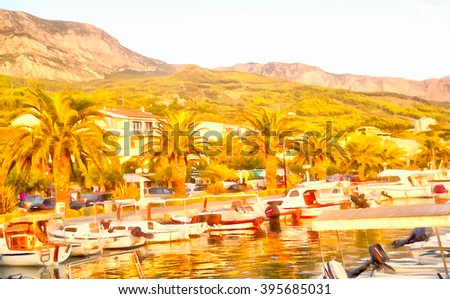 Panoramic view of sailing boats near the beautiful bay and small town, Croatia, illustration watercolor, evening, the last rays of the sun at sunset color the coastline in golden color - stock photo