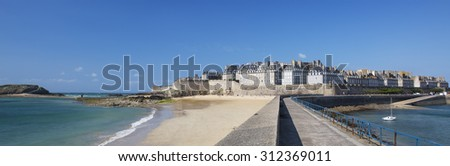 Panoramic view of Saint Malo, Bretagne, France - stock photo