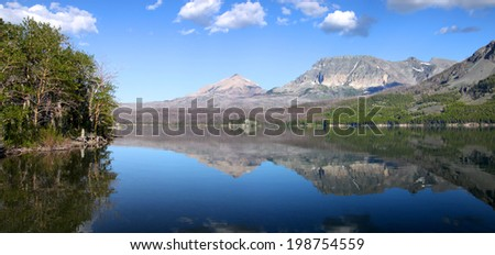 Panoramic view of Saint Mary lake in Glacier national park - stock photo
