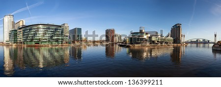 Panoramic view of Salford Quays Manchester, with BBC Manchester, Media City and Lowery theater all together. - stock photo