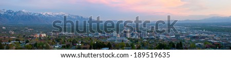 Panoramic view of Salt Lake City, Utah during a beautiful sunset. - stock photo