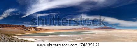 panoramic view of salt lake Salar de Tara, Chile - stock photo