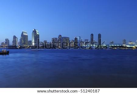 Panoramic view of San Diego Skyline at night - stock photo