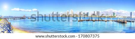 Panoramic view of San Diego skyline from Coronado Island - stock photo