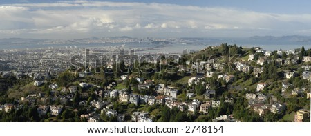 Panoramic view of San Francisco Bay and the Berkeley Hills - stock photo
