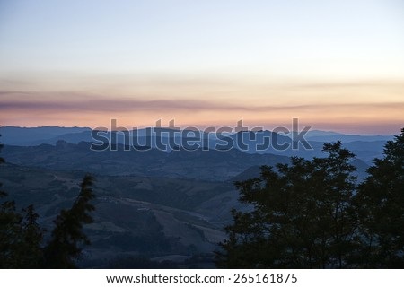 Panoramic view of  San Marino in the evening