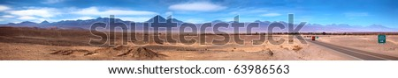 Panoramic view of San Pedro de Atacama, Chile - stock photo