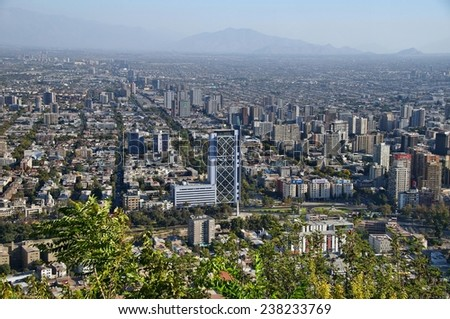 Panoramic view of Santiago de Chile from Cerro San Sebastian - stock photo