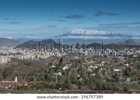 Panoramic view of Santiago de Chile from the suburbs in San Carlos de Apoquindo district - stock photo