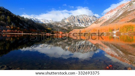 Panoramic view of scenic North lake near Bishop,California in autumn time - stock photo