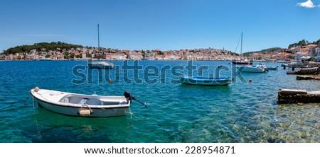 Panoramic view of sea and boats on Mali Losinj bay in Croatia - stock photo