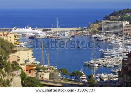 Panoramic view of sea port of Monte-Carlo, Monaco - stock photo