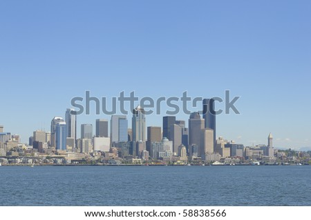Panoramic view of Seattle downtown skyline - stock photo